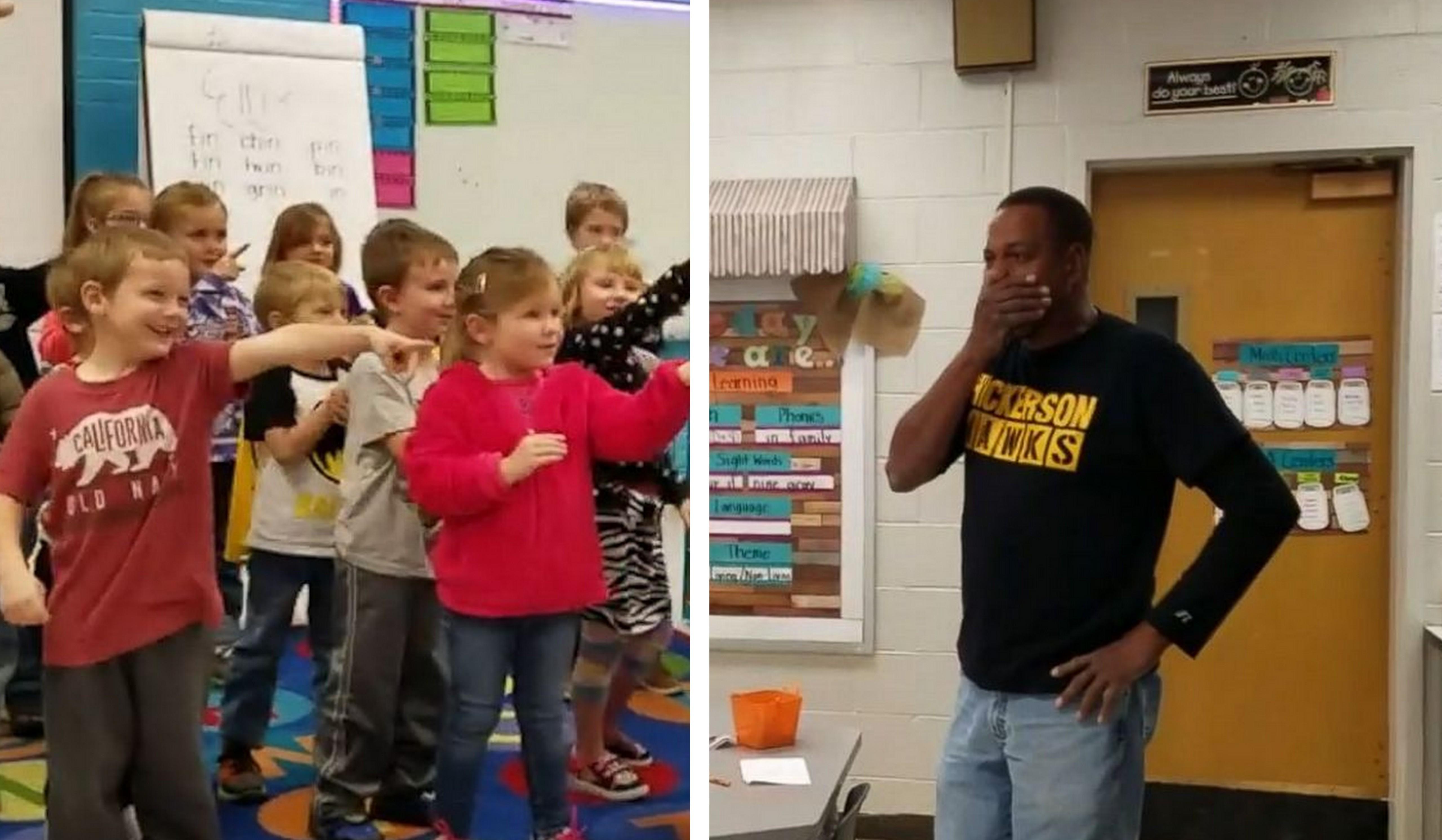 Crianças cantam parabéns em língua de sinais para zelador surdo 3