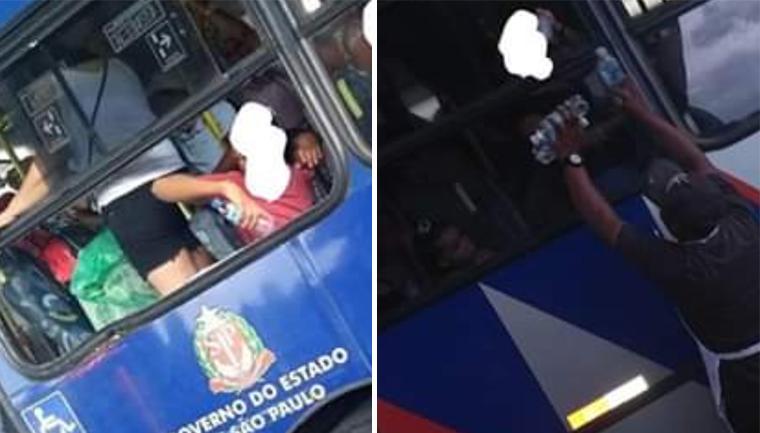 ambulante dá água graça passageiros ônibus dia quente