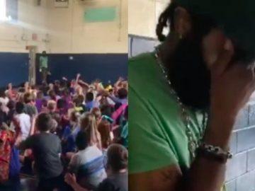 Estudantes fazem festa surpresa em homenagem ao querido zelador da escola
