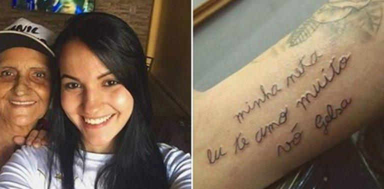 Jovem tatua bilhete escrito pela avó que está se alfabetizando