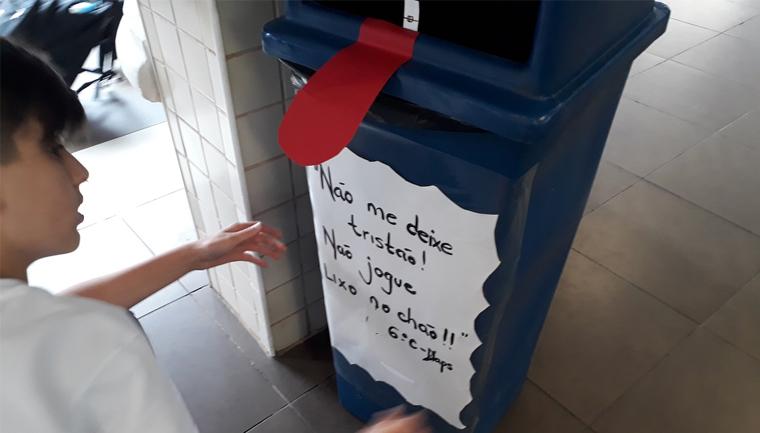 estudantes reduzem descarte de lixo em locais inapropriados