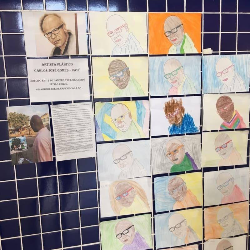 crianças homenageiam artista plástico negro
