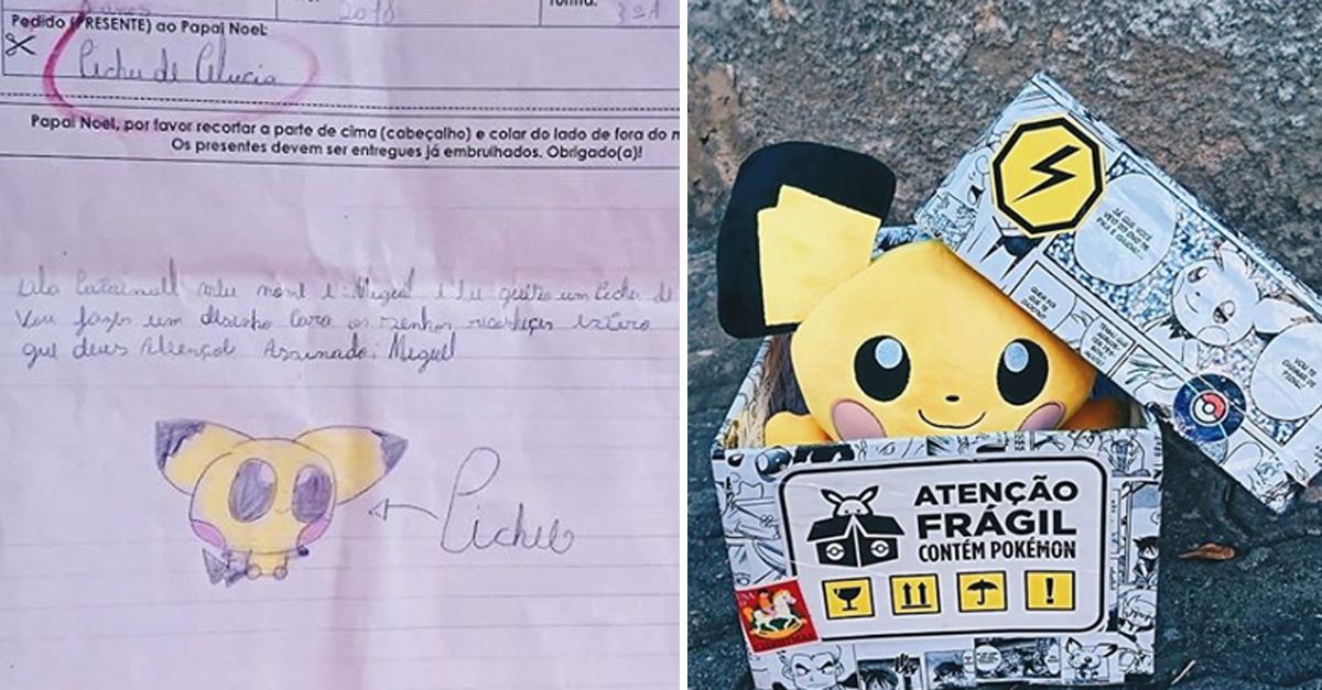 """Fãs dão """"Pichu"""" de Pelúcia a menino atendendo seu pedido em cartinha ao Papai Noel 2"""