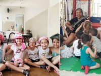 crianças vão escola lenços apoiar colega leucemia