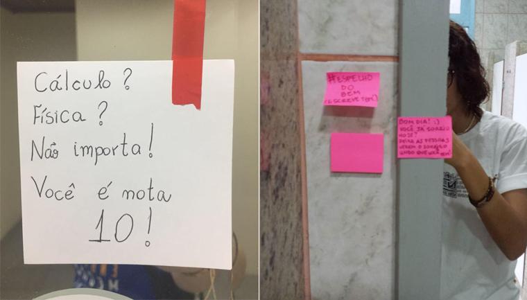 projeto cola bilhetes motivacionais estudantes banheiros universidades