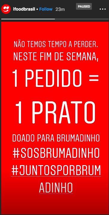 ajudar as vítimas de Brumadinho ifood