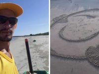Gari de Santa Catarina faz desenhos na areia para conquistar sorrisos