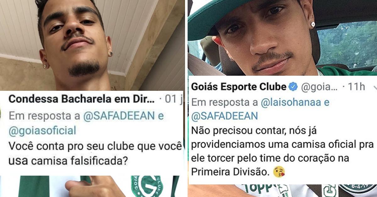 Torcedor é ofendido por usar camisa falsa e Goiás providencia uma original para ele 1
