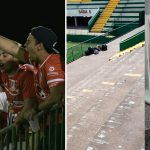 torcida time chileno limpa estádio chapecoense