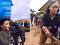 Rihanna busca água e carrega areia para ajudar a construir hospital no Malaui