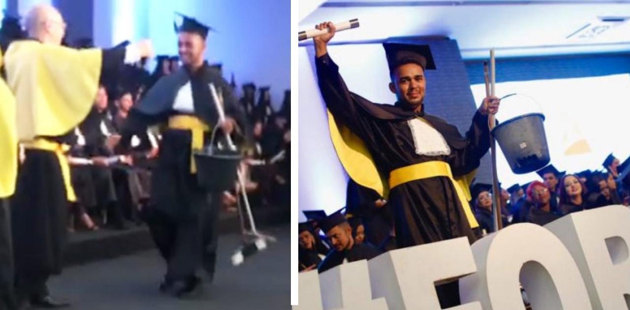 Jovem se forma em jornalismo e recebe diploma com balde e vassoura na mão