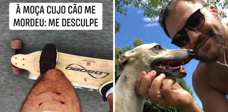Skatista fica nervoso ao levar mordida de cão, pede desculpas e sua atitude viraliza