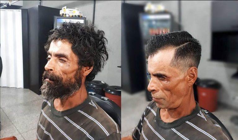 Morador de rua pede uma lâmina de barbear e ganha verdadeira transformação em barbearia de Curitiba