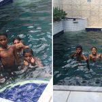 advogada salva crianças pedem banho piscina