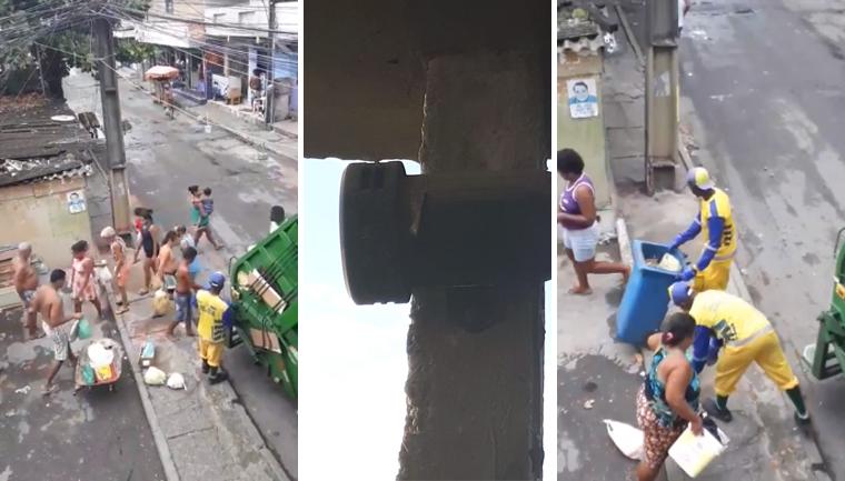 mulher sirene avisa vizinhos caminhão lixo