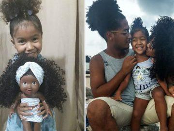 pais fazem bonecas cachos filha