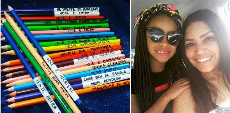 Mãe amorosa cola frases de incentivo nos lápis de cor da filha em Jundiaí (SP)