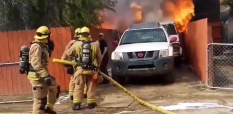 Em vídeo, homem arrisca sua vida para salvar pitbull preso em incêndio