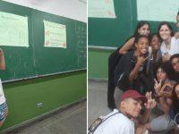 alunos fazem cartazes palavras incentivos professora chorou sala aula