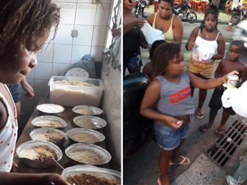 menina distribui quentinhas moradores rua aniversario
