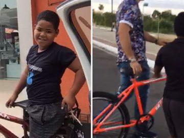 garoto vendia desenhos consertar bicicleta ganha bike desconhecido