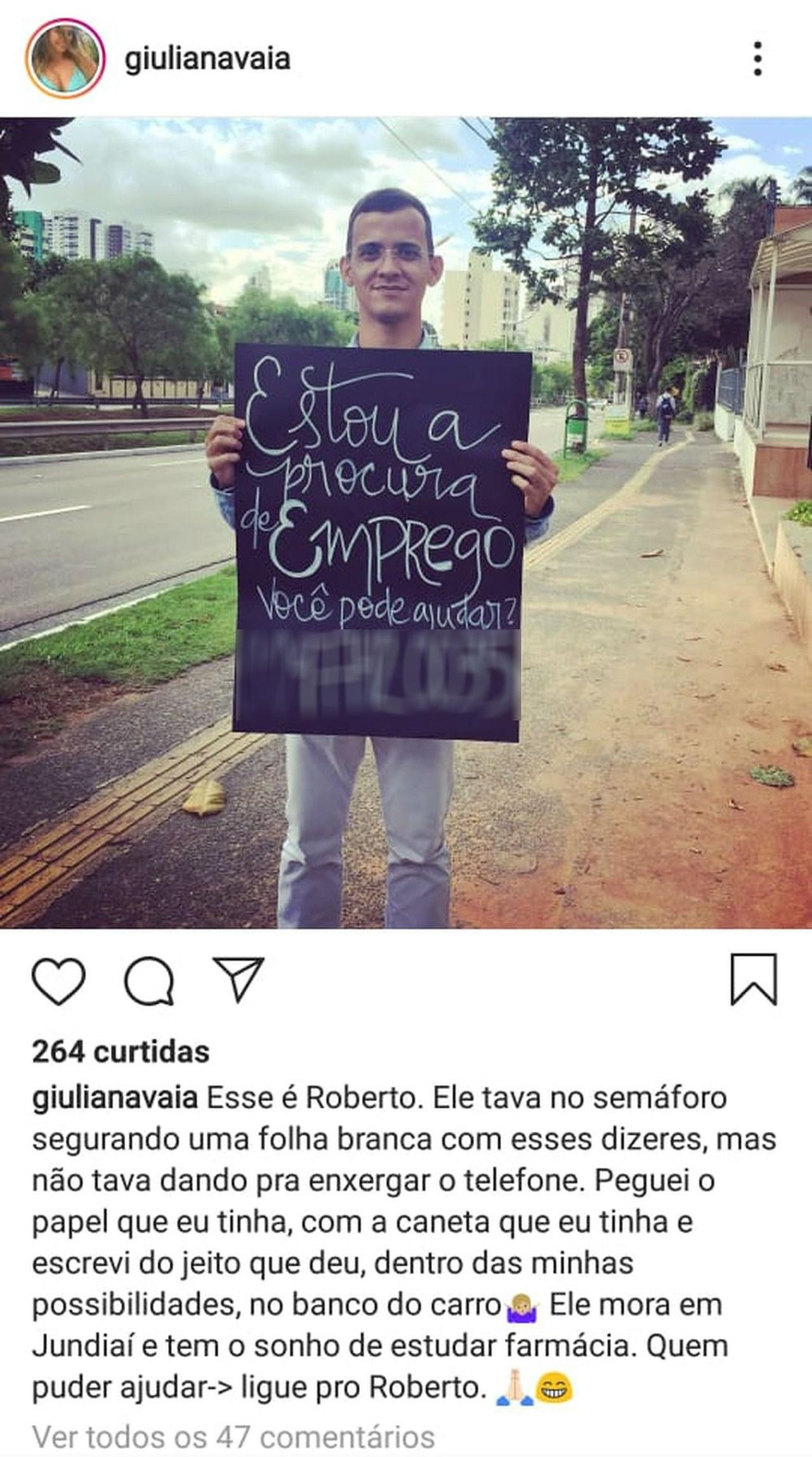 Jovem consegue emprego após usar 'cartaz personalizado' em semáforo de Jundiaí (SP)