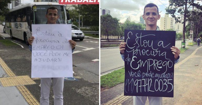 Jovem consegue emprego após desconhecida personalizar seu cartaz em semáforo de Jundiaí 1