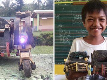 Sem condições para comprar brinquedos, garoto de 13 anos transforma chinelos em carrinhos