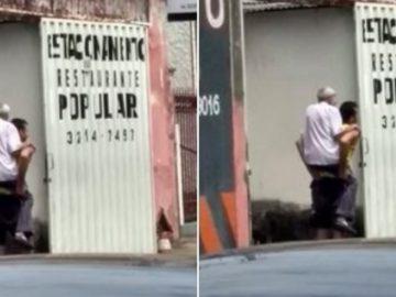 Homem carrega idoso nas costas até o endereço que ele procurava em Uberlândia (MG)