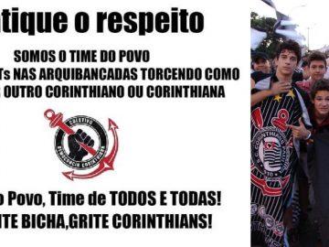 Corintianos fazem campanha contra gritos homofóbicos no Paulista