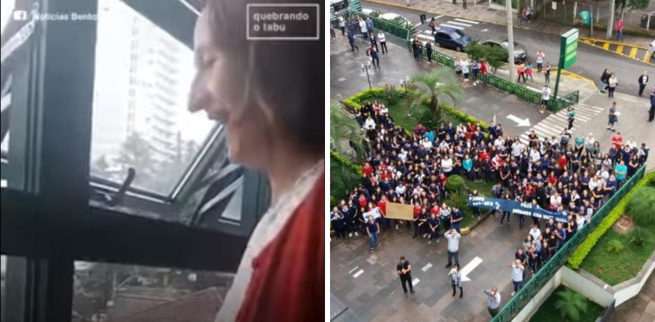 300 alunos vão a hospital cantar parabéns a professora com leucemia