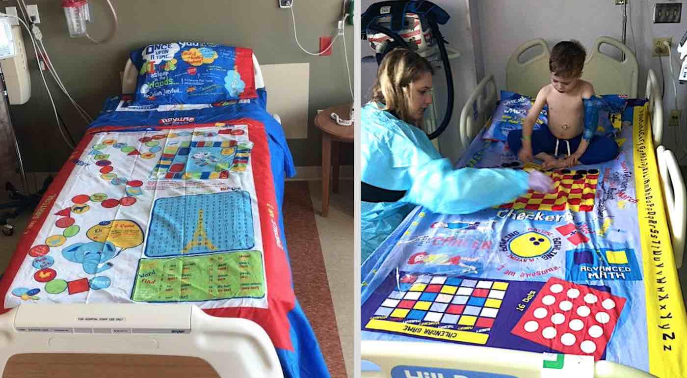 Pai transforma lençóis em jogos de tabuleiro para animar crianças de hospital