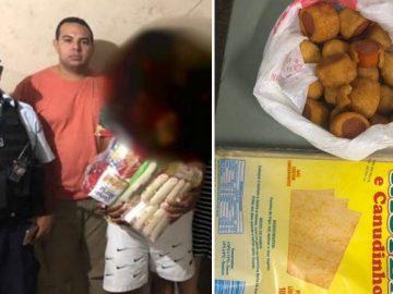 Policiais compram cesta básica para homem que furtou salgadinhos para alimentar família