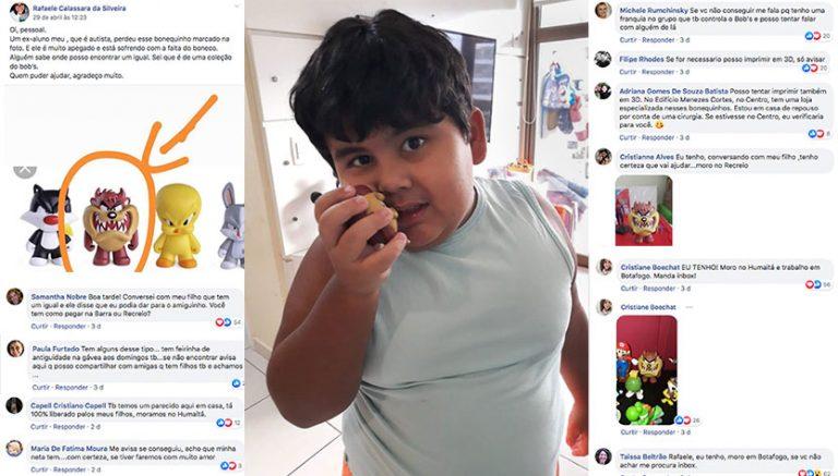 Menino autista perde boneco favorito e internet se mobiliza para recuperá-lo