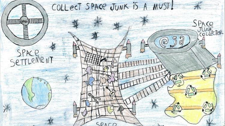 Brasileiro de 9 anos cria coletor de lixo espacial e leva prêmio da Agência Espacial Europeia
