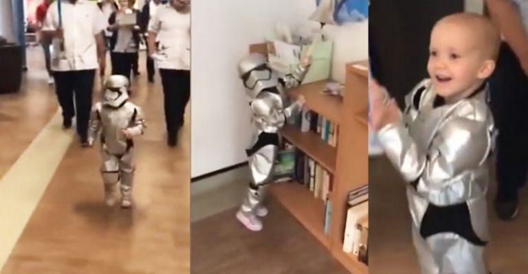 Garotinha comemora derrota do câncer tocando sino vestida de stormtrooper