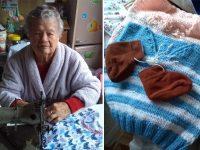idosa 99 anos costura enxovais bebês famílias poucos recursos