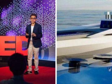 "Garoto de 12 anos inventa ""super barco"" capaz de sugar plástico dos oceanos"