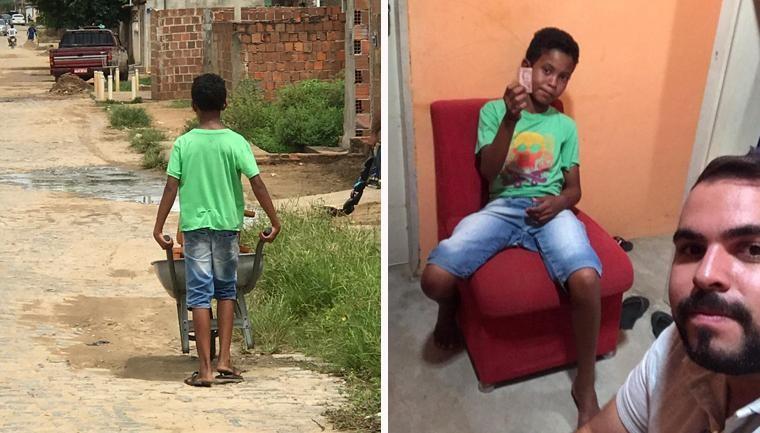 menino tamboretes dinheiro roubado ajuda desconhecidos