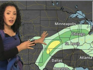 Mamãe meteorologista leva filho de 1 ano para trabalhar com ela