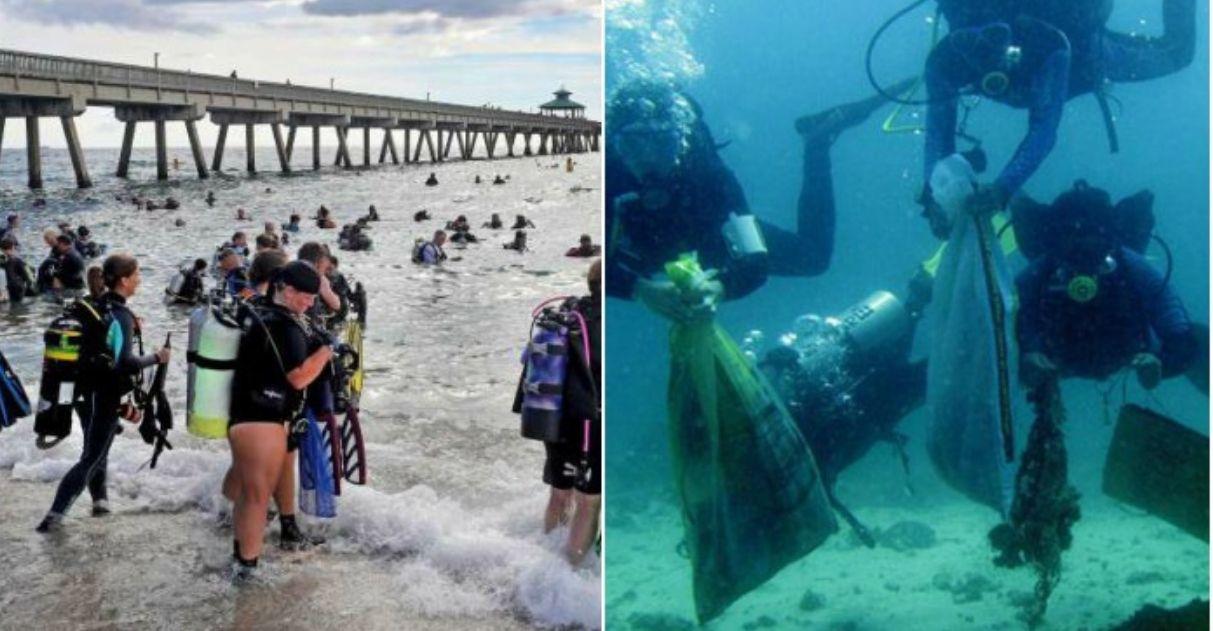 Mais de 600 mergulhadores quebraram o recorde mundial de limpeza subaquática