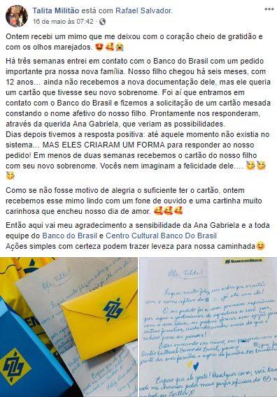 família surpreendida carta banco do brasil cartão filho adotivo