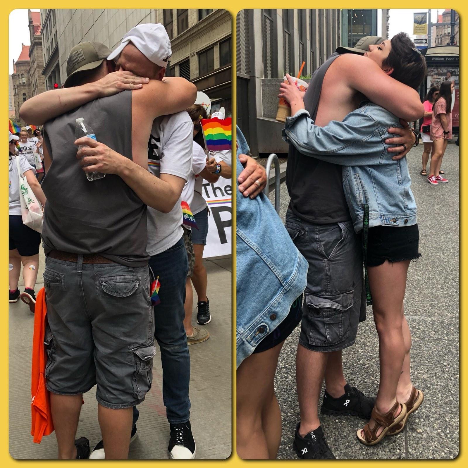 homem abraços pai grátis parada lgbt