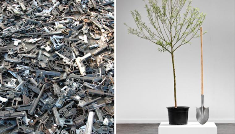 Artista mexicano derrete 1500 armas e transforma em pás para plantar árvores