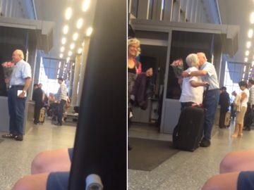 Idoso recepciona esposa em aeroporto com flores e chocolates - veja o vídeo 1