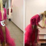 estudante apresenta tcc vestido drag queen