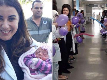 Bebê que nasceu com 560 gramas recebe alta e festa em hospital