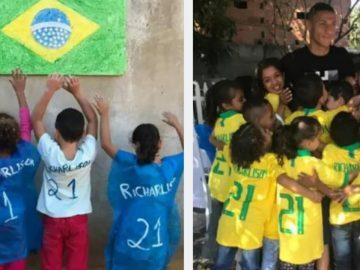 Richarlison doa camisas oficiais do Brasil para crianças que improvisaram seu nome