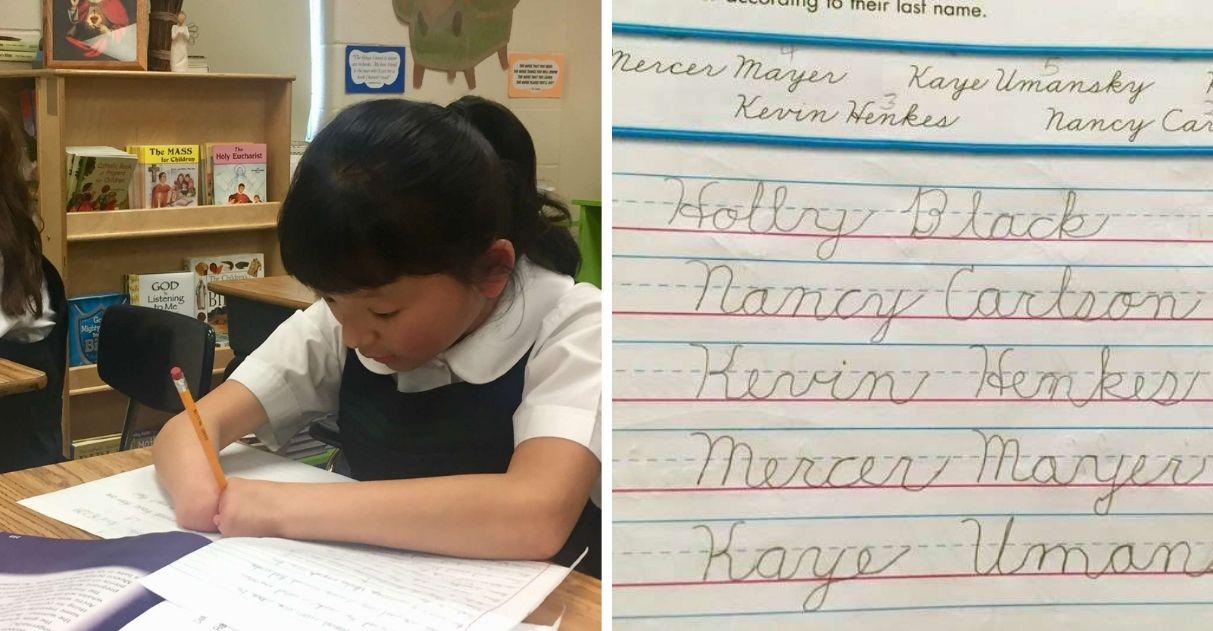 Menina de 10 anos que nasceu sem as mãos ganha competição de caligrafia