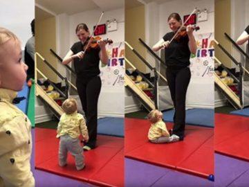 A reação desse bebê ao ouvir um violino pela primeira vez vai alegrar seu dia